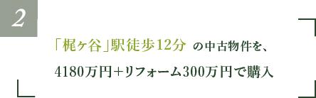 「梶ヶ谷」駅徒歩12分の中古物件を、4180万円+リフォーム300万円で購入